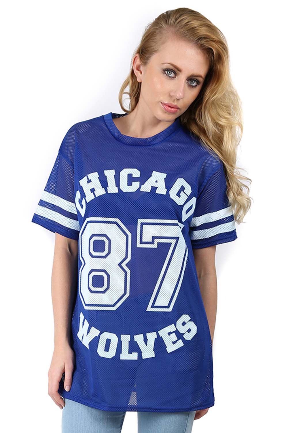 damen chicago 87 w lfe airtex baggy t shirt damen bedruckt uni baseball top ebay. Black Bedroom Furniture Sets. Home Design Ideas