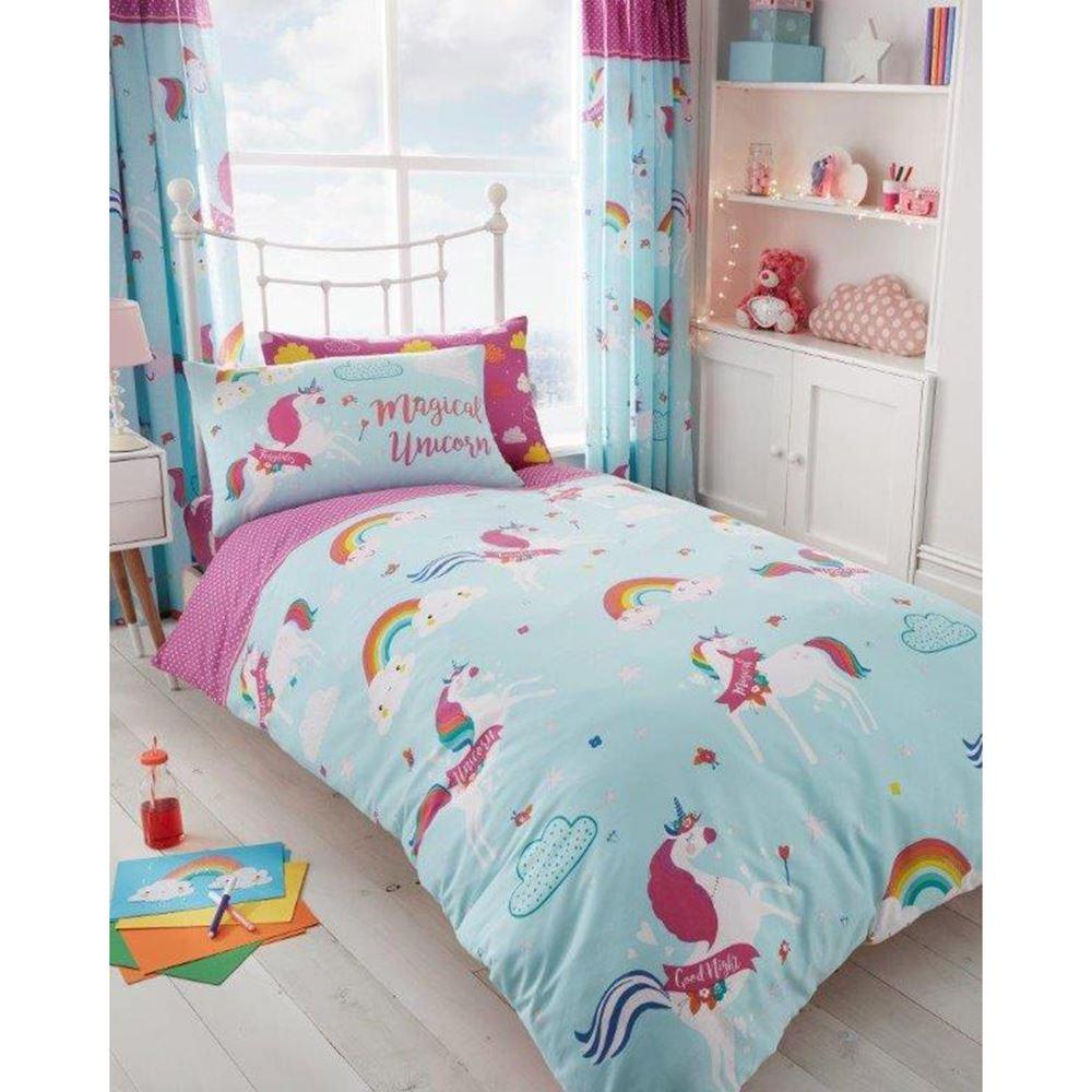 licorne housse de couette ensembles enfants filles literie junior simple ebay. Black Bedroom Furniture Sets. Home Design Ideas