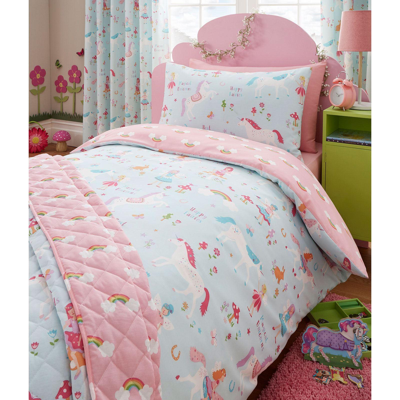 einhorn decke bez ge kinder m dchen bettw sche junior einzeln doppel king ebay. Black Bedroom Furniture Sets. Home Design Ideas