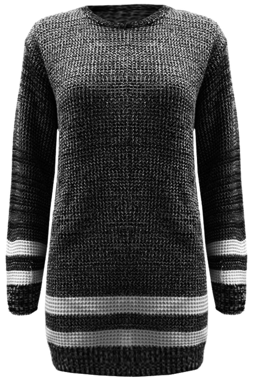 damen pullover kleid damen bergr e streifen grob gestrickt lang top sweatshirt ebay. Black Bedroom Furniture Sets. Home Design Ideas