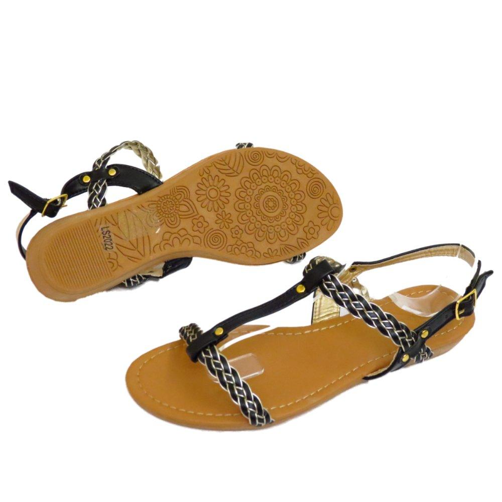 mujer negro plano Cómodo Sandalias Chanclas Zapatos barra T Verano Playa