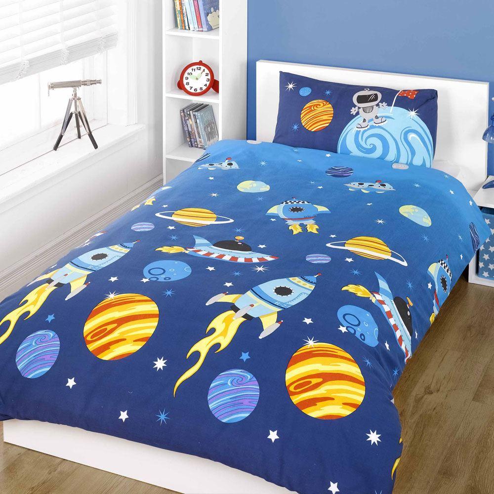 Space Rockets Planets Single Double Junior Duvet Cover