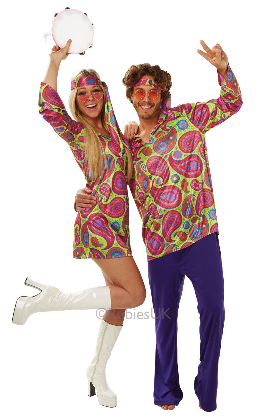 HOMBRE-MUJER-ANOS-60-ANOS-70-Hippy-Disco-Disfraz-Disfraz