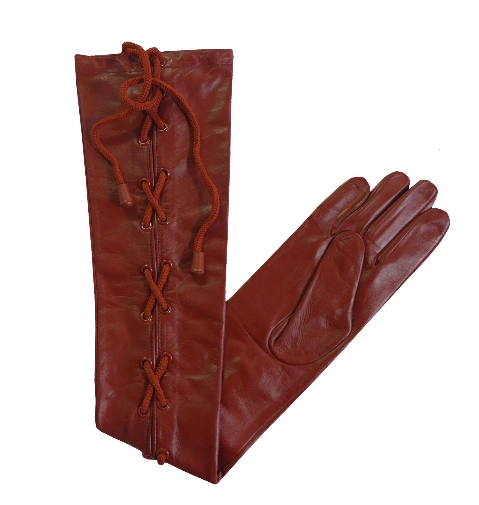 epaule-haut-cuir-souple-long-UNISEXE-NOIR-ROUGE-MARRON-gants-XS-XXL
