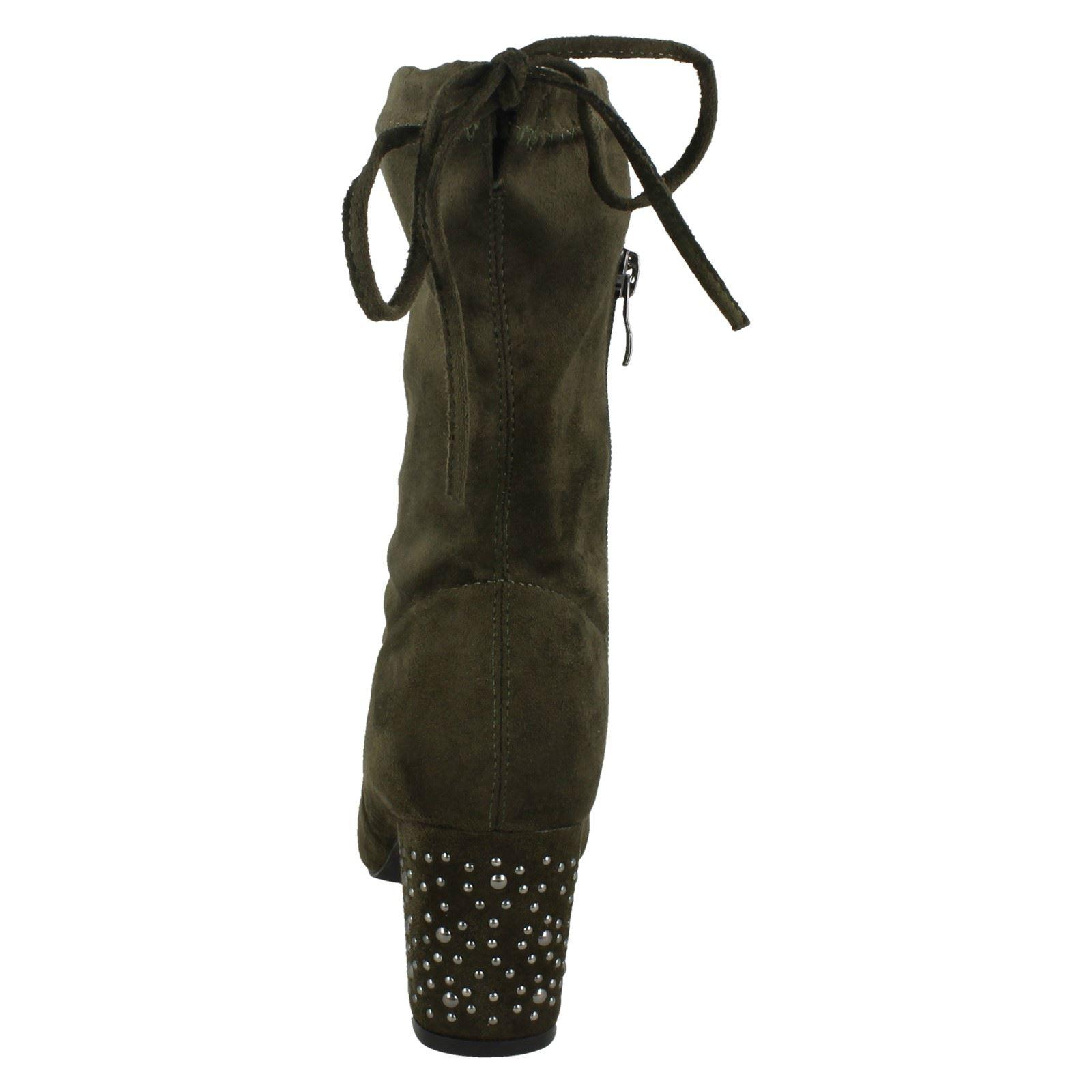 Donna Spot On Medio Grosso Tacco Alti Stivali Al Polpaccio