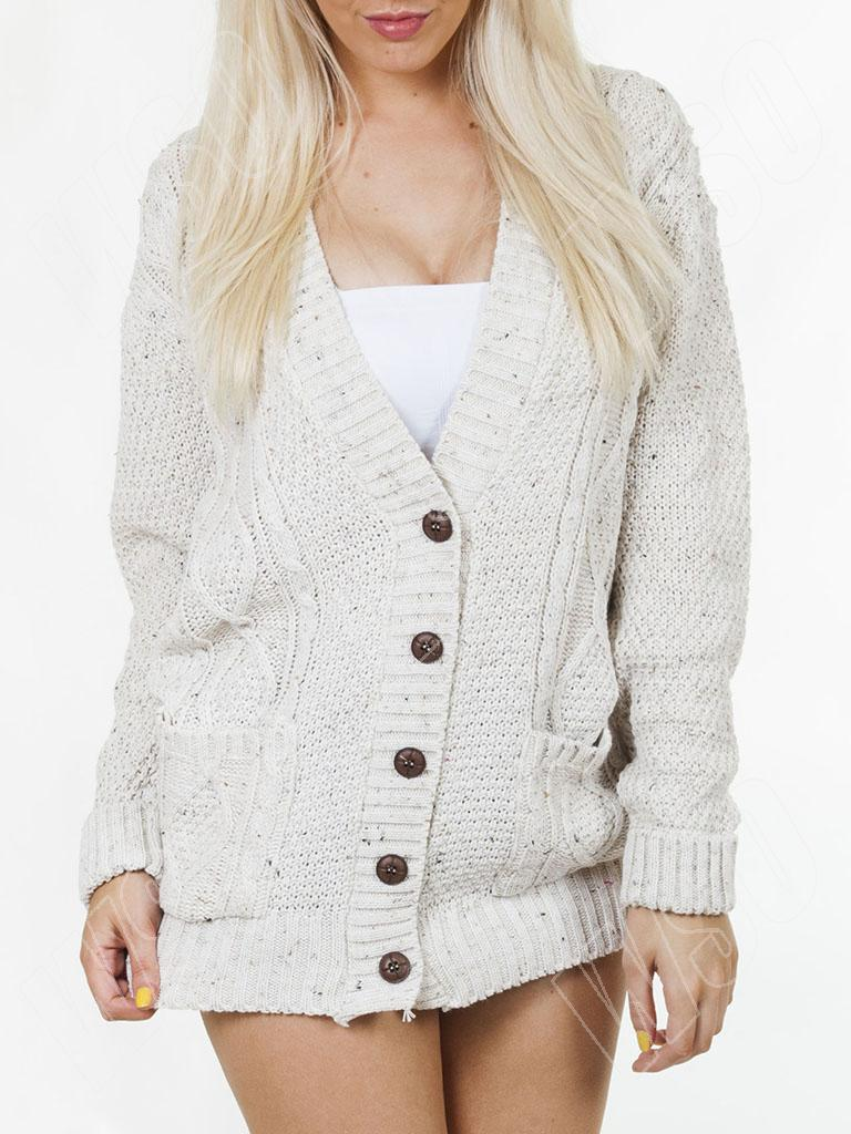 New Womens Ladies Cable Knit Knitted Baggy Boyfriend Cardigan Size ...