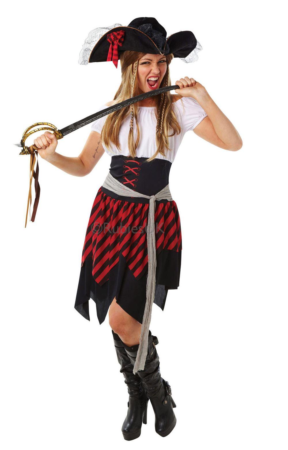 Mujer-BUCANERO-PIRATA-SIRVIENTA-del-Caribe-Marinero-Disfraz-Mujer-Disfraz