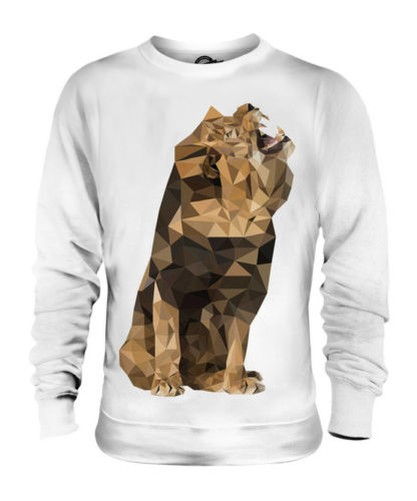 GEOMETRIC PATTERN LION ROAR UNISEX SWEATER TOP GIFT ANIMAL NATURE