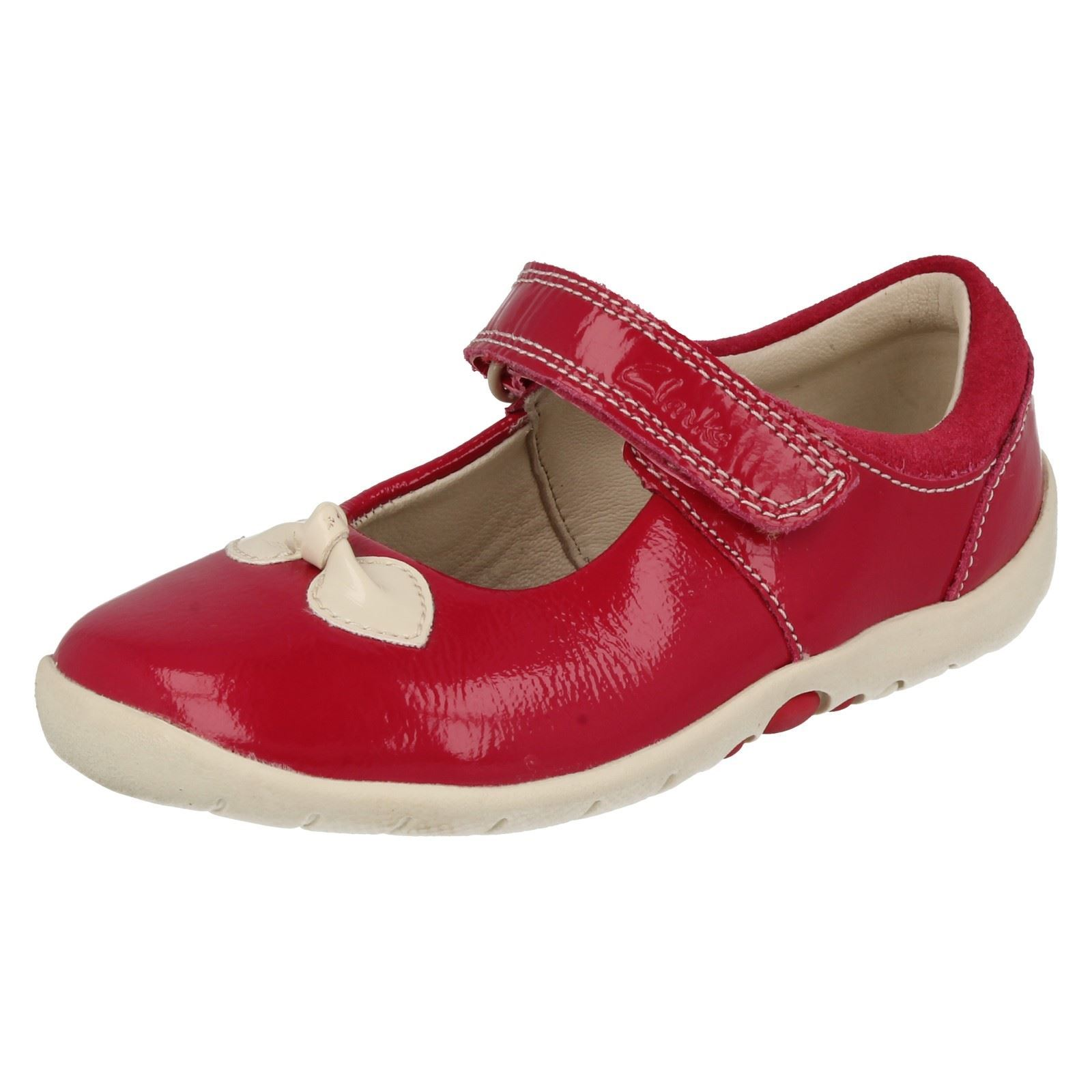 6bf0dc237e45 Girls Clarks Softly Bow FST Berry Pink Patent Leather Velcro First Walking  Shoes US 4.5 F Fitting. About this product. Picture 1 of 10  Picture 2 of  10 ...
