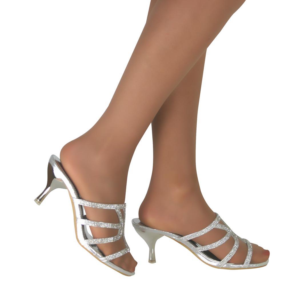 Silver Diamante Shoes Low Heel