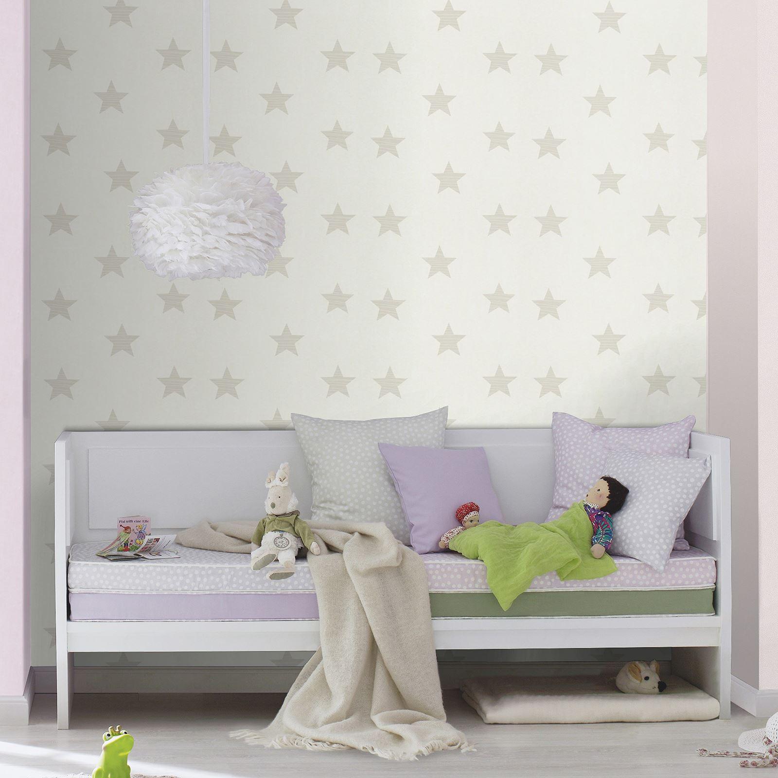 Tapete kinderzimmer sterne  gepunktet, Sterne, Hearts & Rosenknospen Muster Tapete Kinderzimmer ...