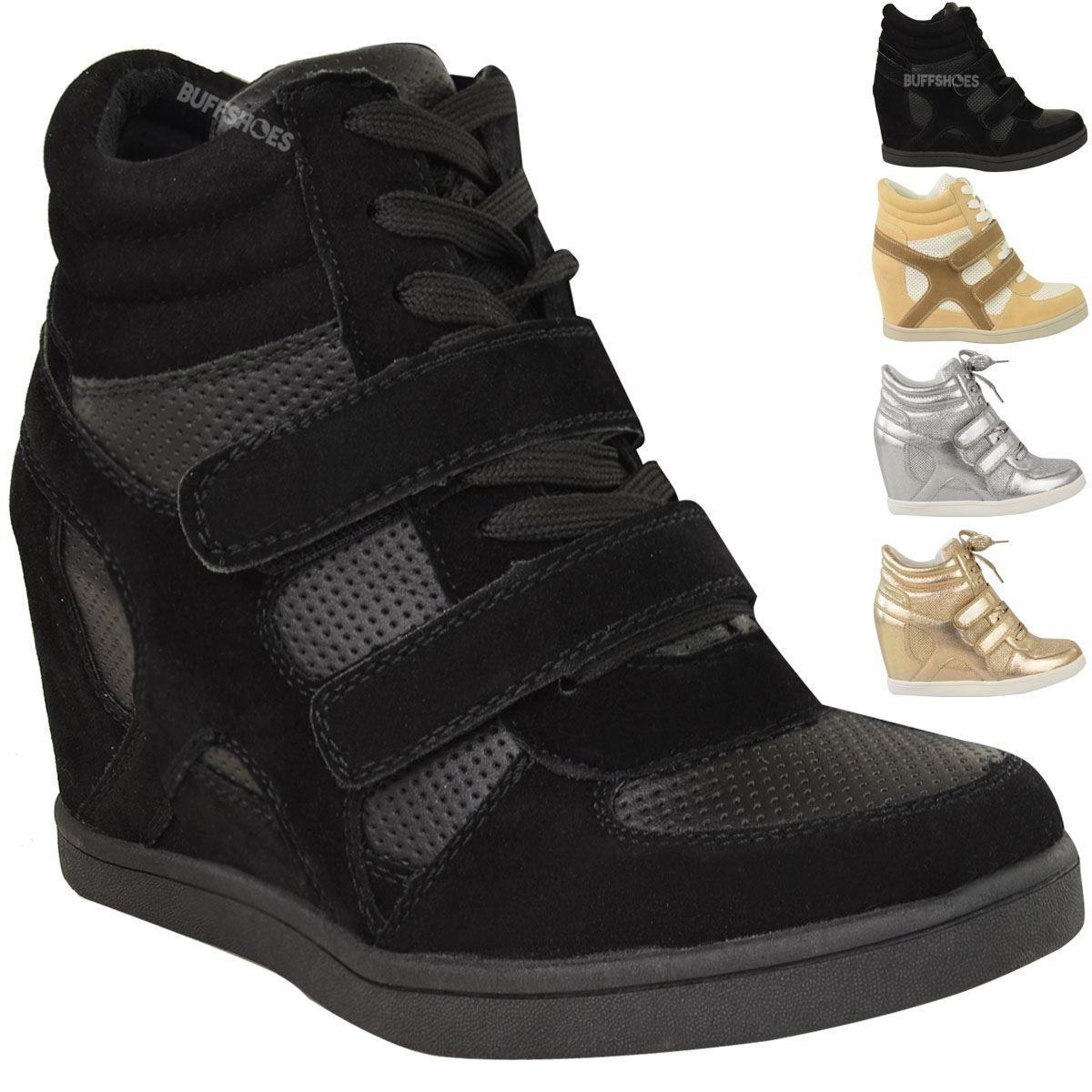neu damen frauen hi top keilturnschuhe turnschuhe pumps sport ankle boots gr e ebay. Black Bedroom Furniture Sets. Home Design Ideas