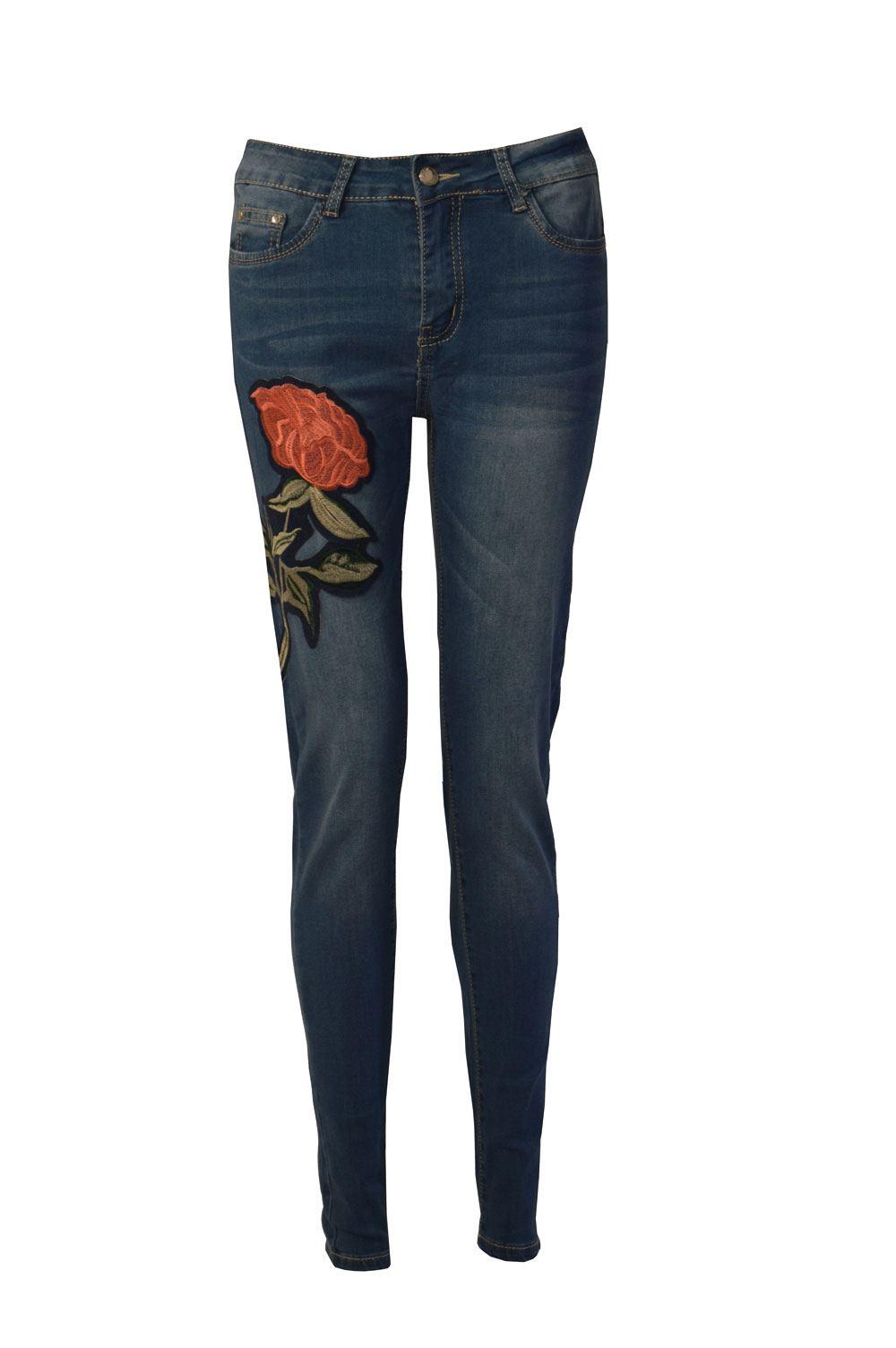 damen bestickt denim hoher bund skinny fit jeans stretch ebay. Black Bedroom Furniture Sets. Home Design Ideas