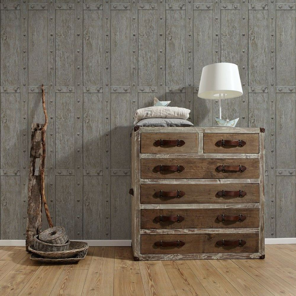 Grau muster tapete as creation wandtapete holz planken for Wandtapete grau
