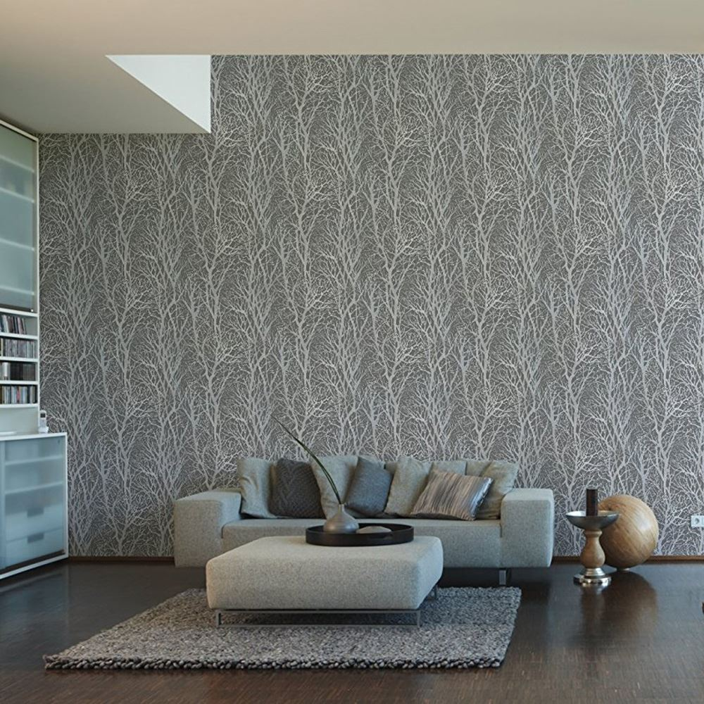 Grey patterned wallpaper as creation feature wall wood - Living room feature wall wallpaper ...