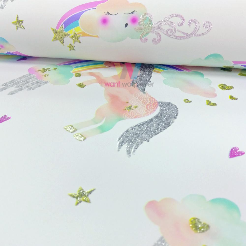 Arthouse rainbow unicorn pattern childrens wallpaper for Arthouse jardin wallpaper
