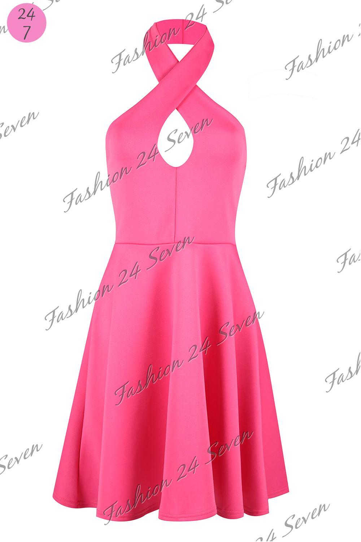 Para Dama Liso Vestidos Mujer Espalda Descubierta Cuello Halter | eBay