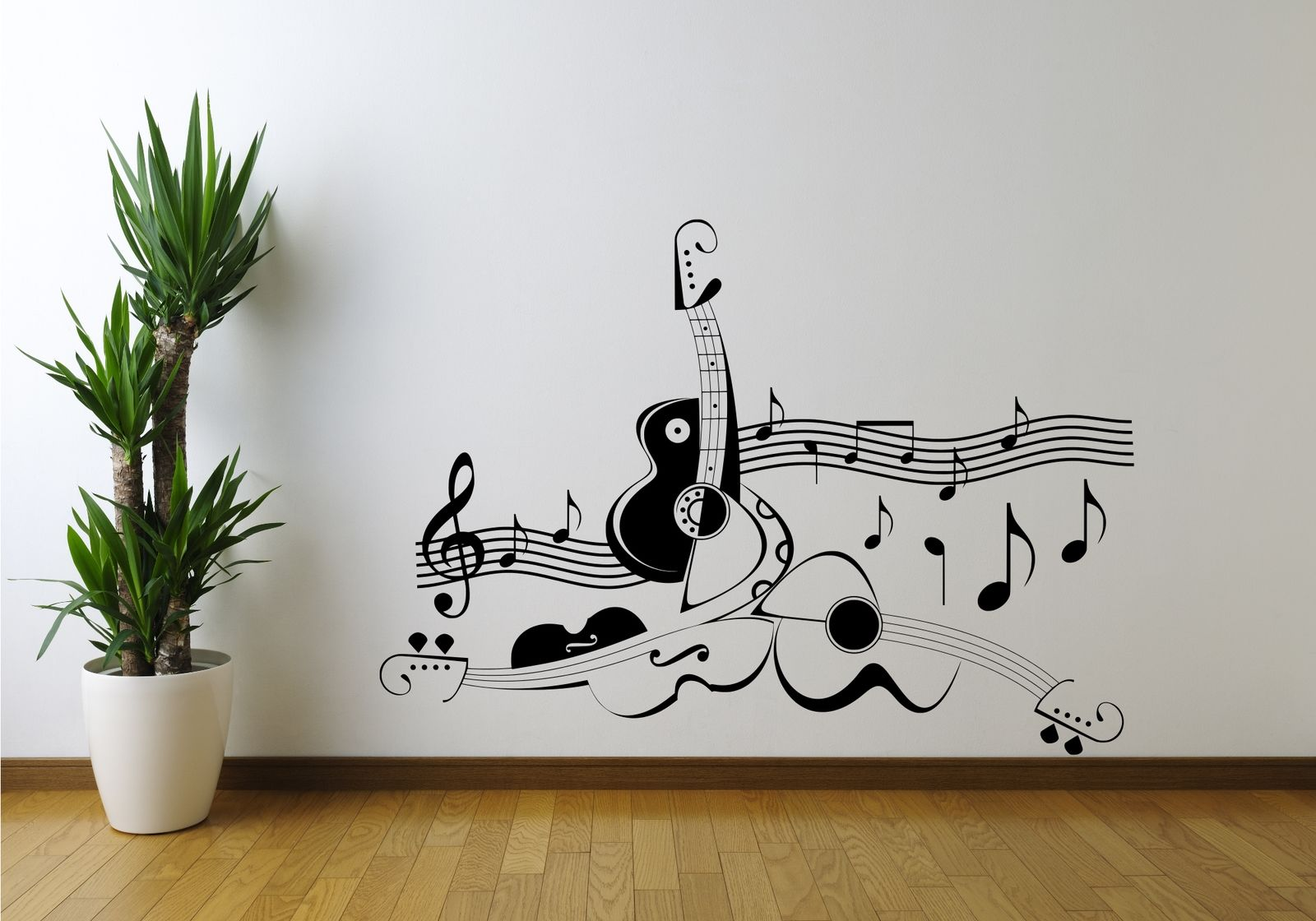 Guitar music note symbol violin wall art sticker decal for Stencil wall art