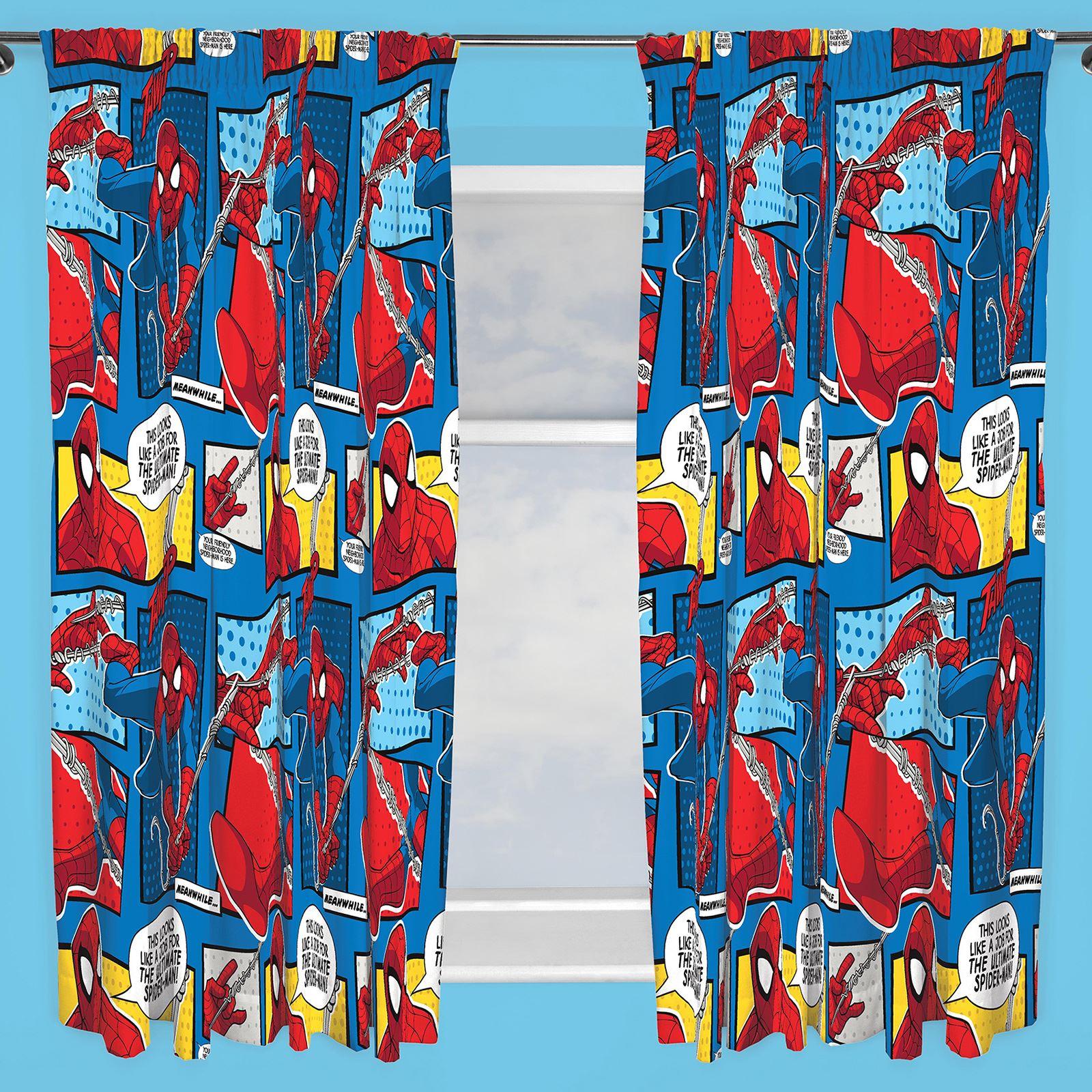 Disney & Character Jungen Vorhänge Schlafzimmer Marvel Paw Patrol Pokemon Thomas Spiderman Spinnenkopf 183cm