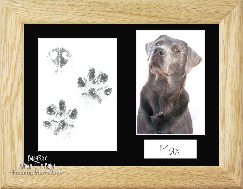 Pet Dog Paw Prints Print Kit Solid Oak Wooden Photo Picture Frame ...