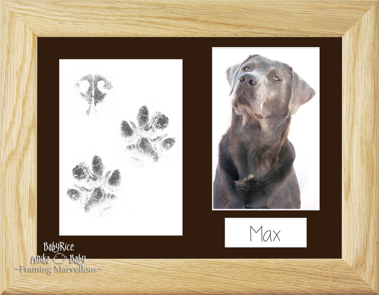 Pet Dog Paw Prints Print Kit Solid Oak Wooden Photo Picture Frame ...