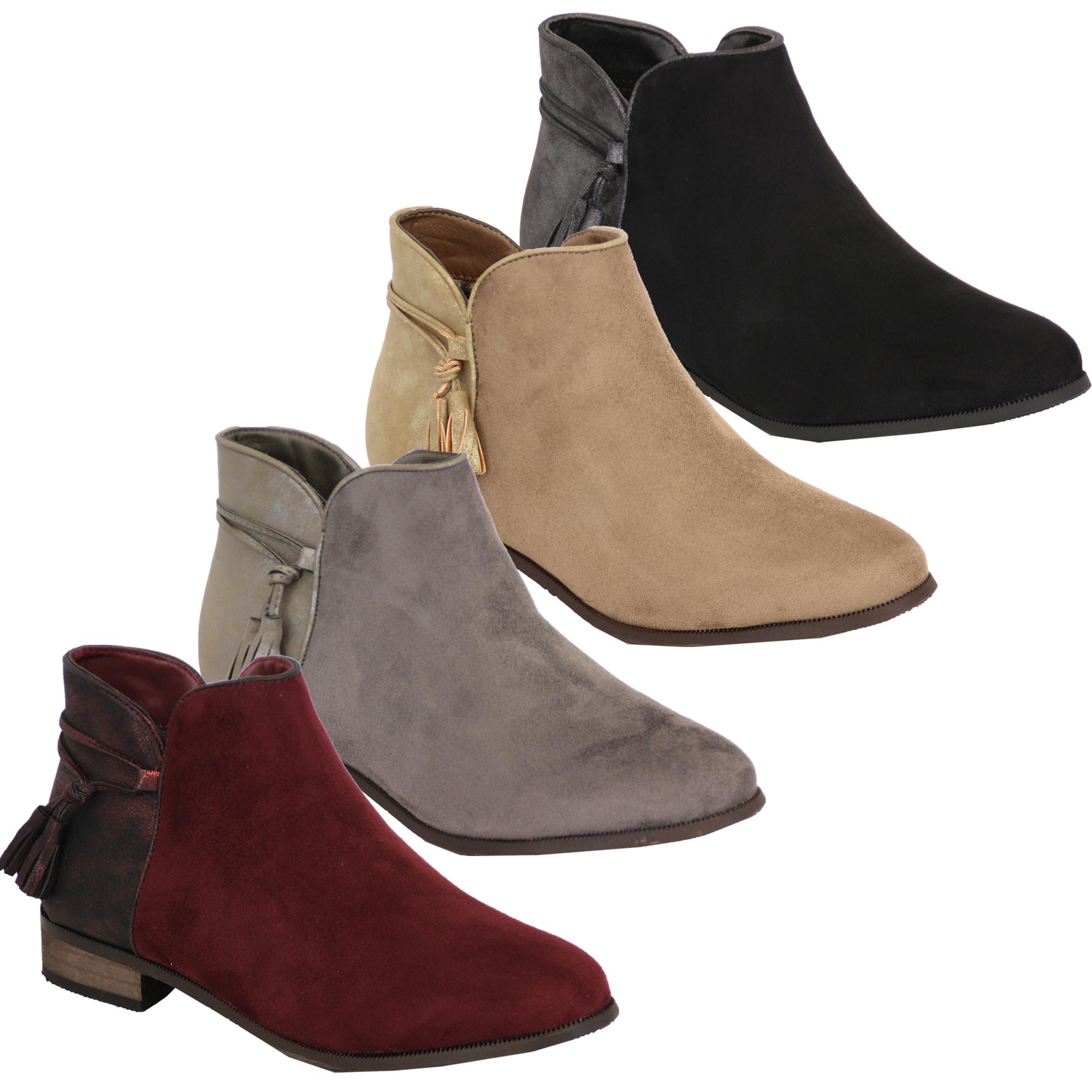 Damen Chelsea Stiefel Wildleder-Optik Schuhe Knöchel Reißverschluss Troddel