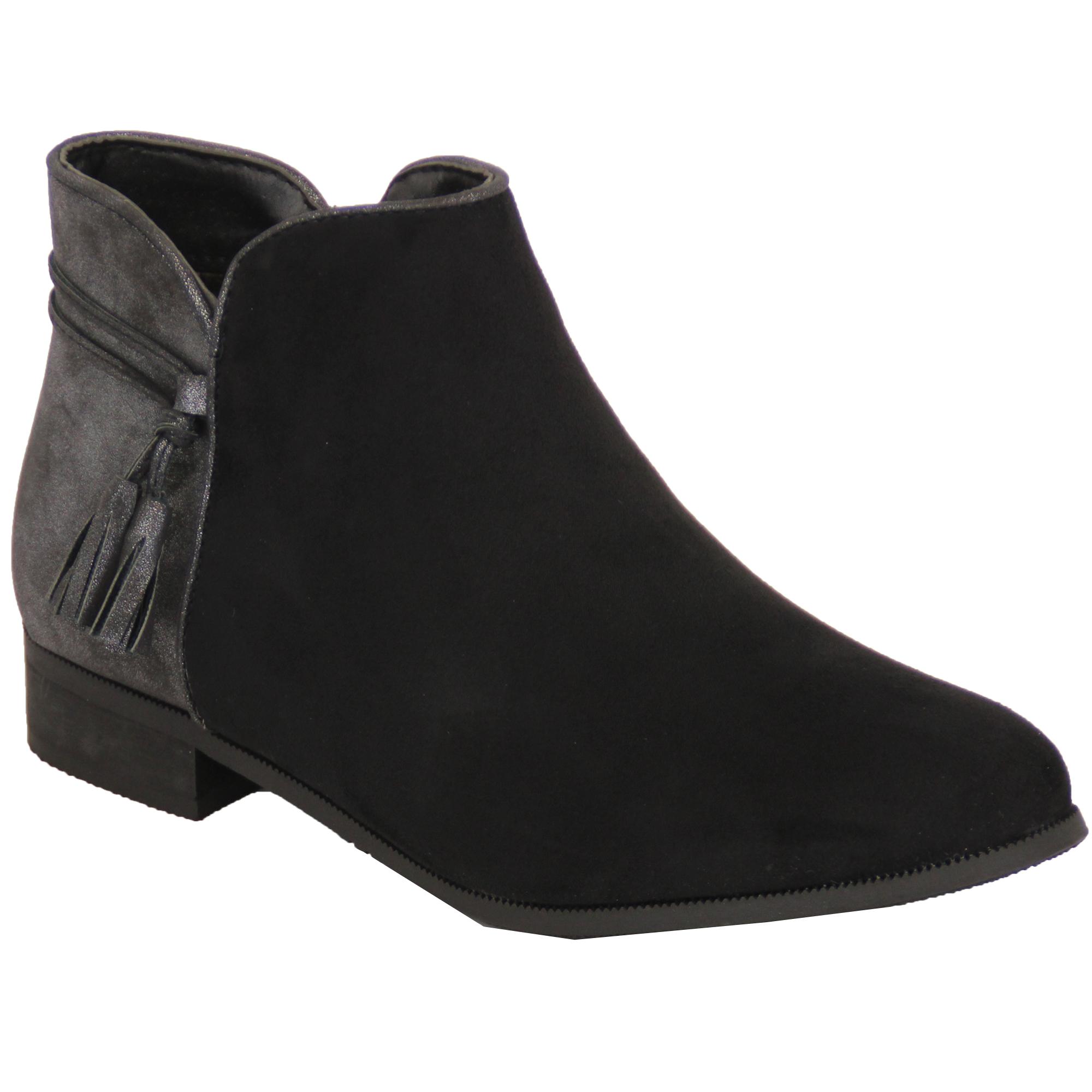 Bota Tipo Chelsea Para Dama Mujer look Ante Zapatos Tobillo Cremallera Borla