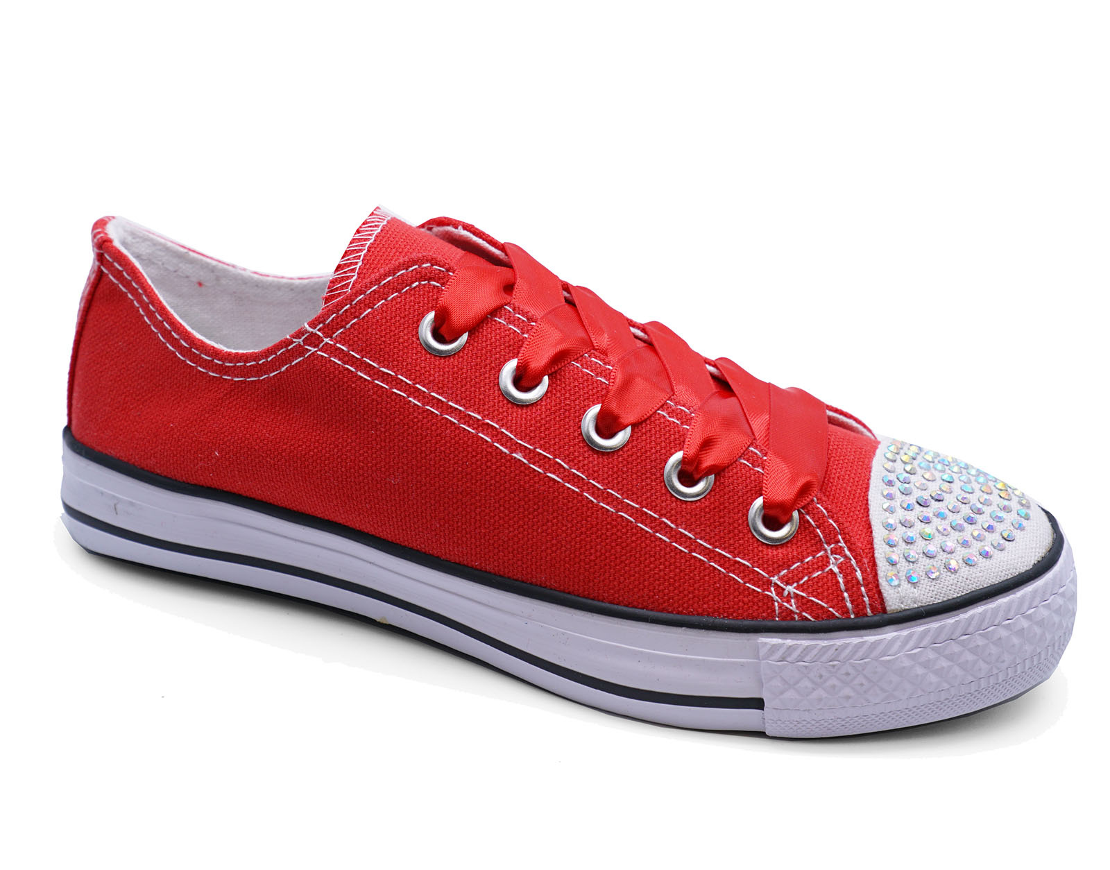 Niños Niñas Rojo Lona pedrería Con Cordones Zapatillas Planas Zapatos número