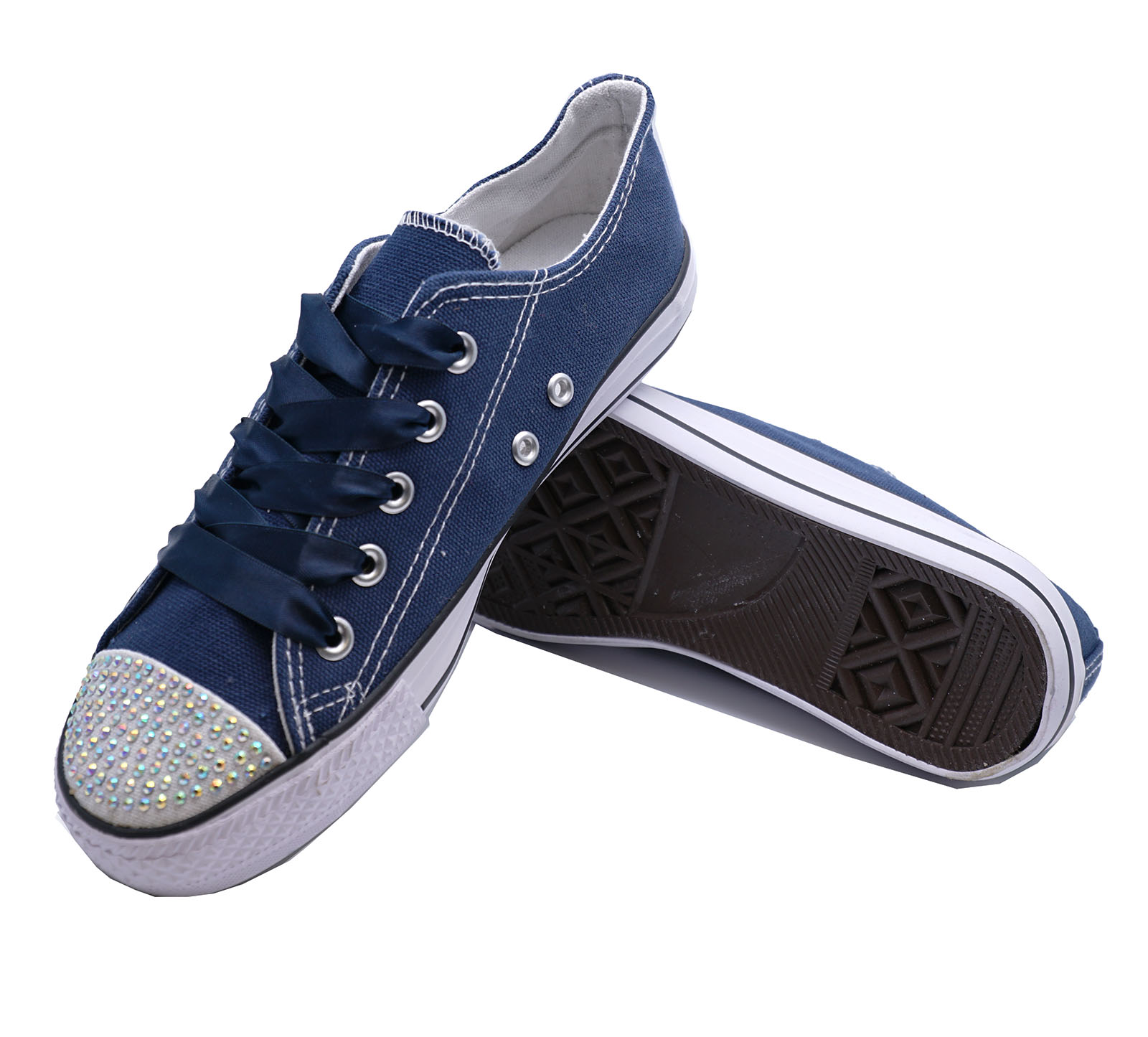 Niños Niñas Azul Marino Lona pedrería Con Cordones Zapatillas Planas Zapatos UK