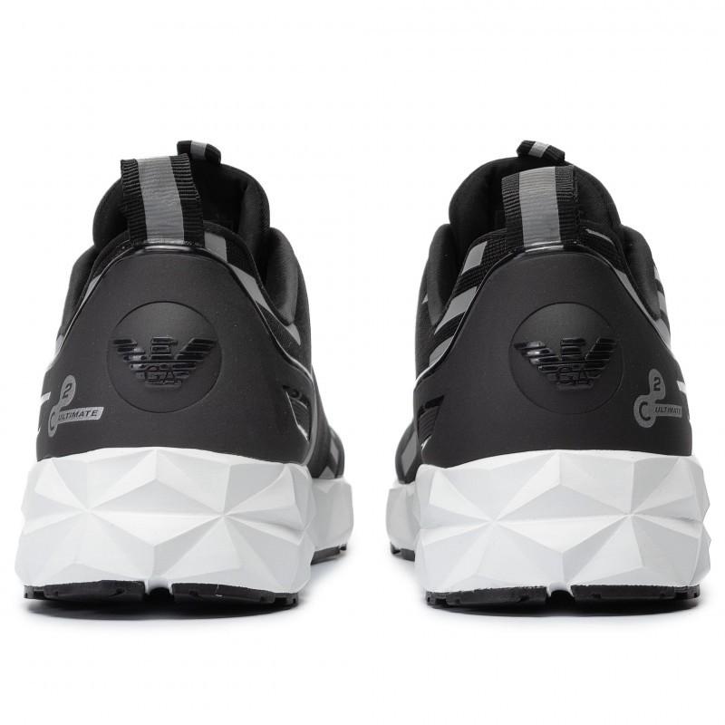 miniature 17 - EA7 Baskets Emporio Armani Homme X8X033 XCC52 2021 Chaussures Noir Blanc Gris