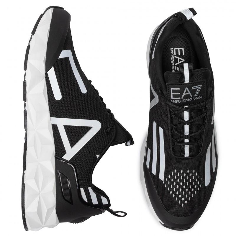 miniature 18 - EA7 Baskets Emporio Armani Homme X8X033 XCC52 2021 Chaussures Noir Blanc Gris
