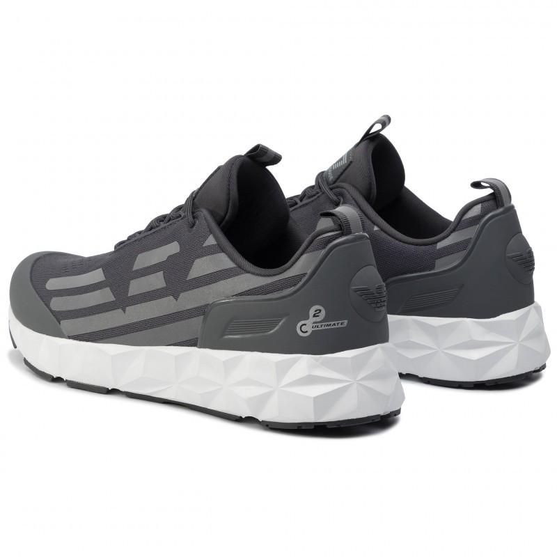 miniature 22 - EA7 Baskets Emporio Armani Homme X8X033 XCC52 2021 Chaussures Noir Blanc Gris