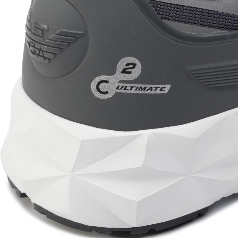 miniature 25 - EA7 Baskets Emporio Armani Homme X8X033 XCC52 2021 Chaussures Noir Blanc Gris