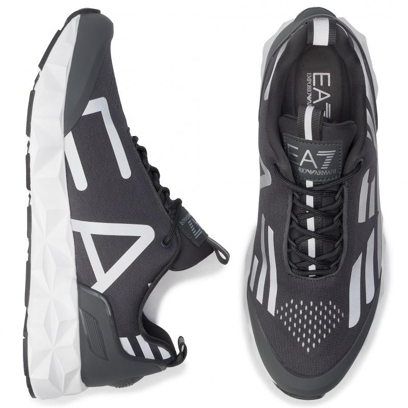 miniature 26 - EA7 Baskets Emporio Armani Homme X8X033 XCC52 2021 Chaussures Noir Blanc Gris