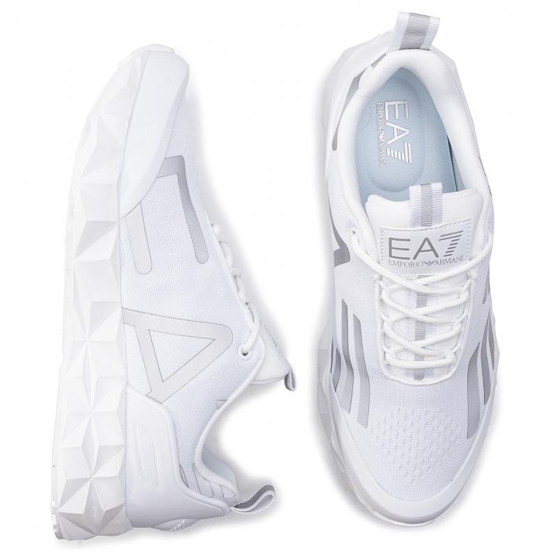 miniature 32 - EA7 Baskets Emporio Armani Homme X8X033 XCC52 2021 Chaussures Noir Blanc Gris