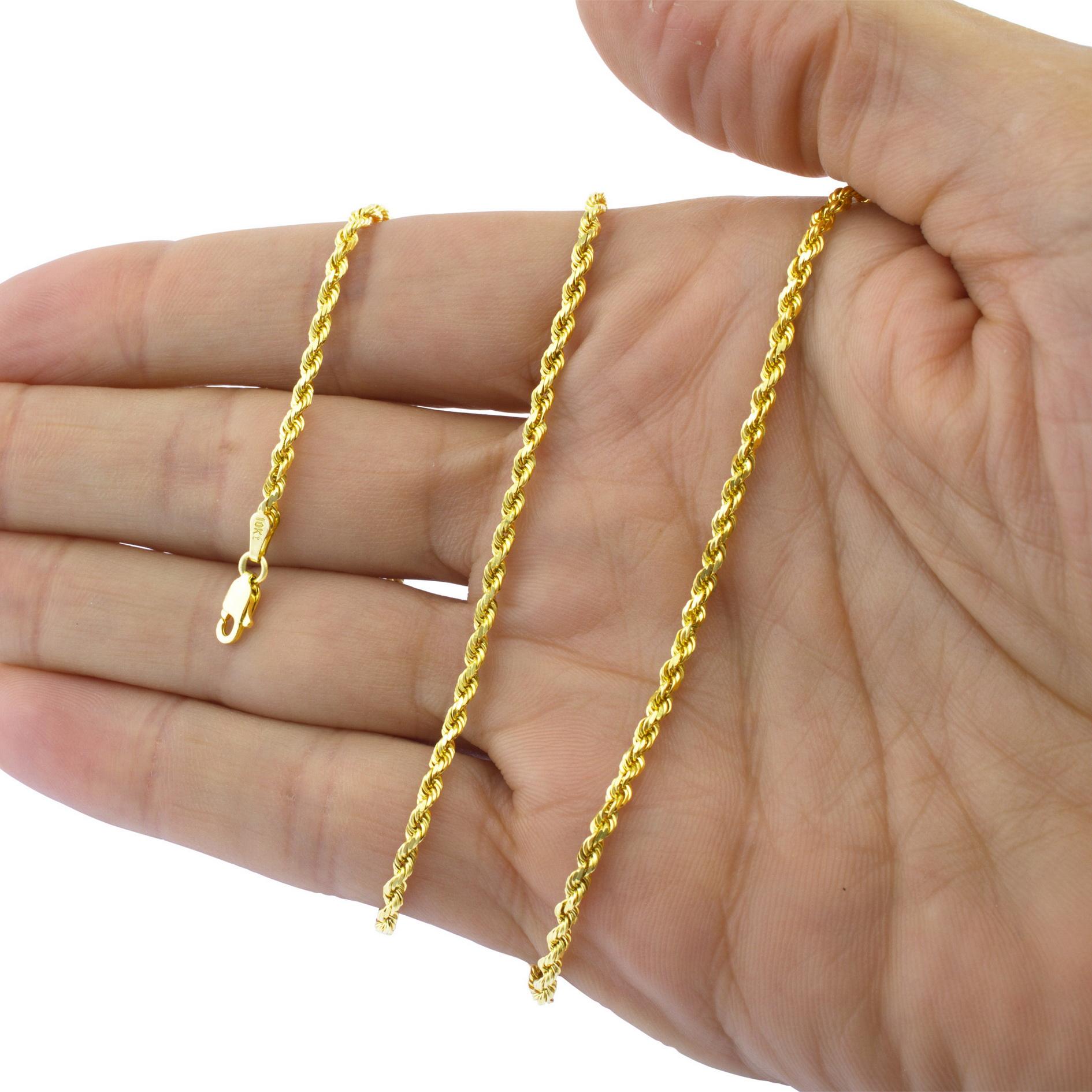 4ce9c955bbef Sólido 10k Oro Amarillo 1mm-10mm Cadena de Cuerda Pulseras Collares ...