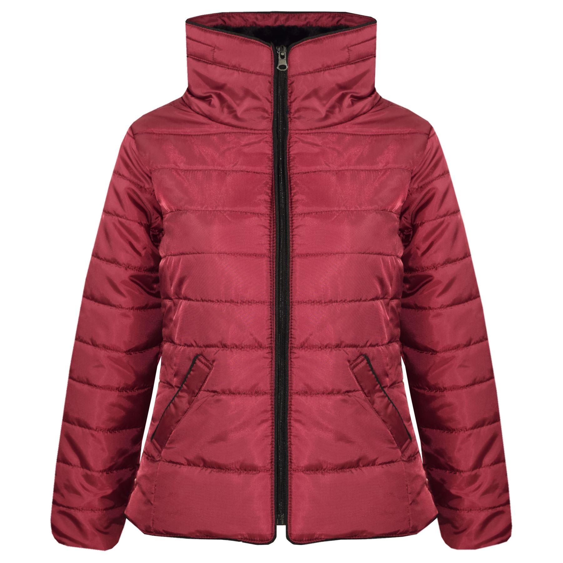meilleur service f06c9 63744 Détails sur veste fille enfants vin Doudoune Bulle col en fausse fourrure  chaude Manteau