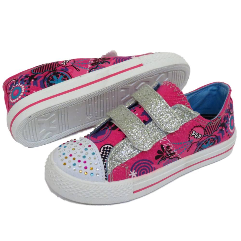 filles enfants plat rose baskets toile chaussures baskets tennis tailles 10 2 ebay. Black Bedroom Furniture Sets. Home Design Ideas