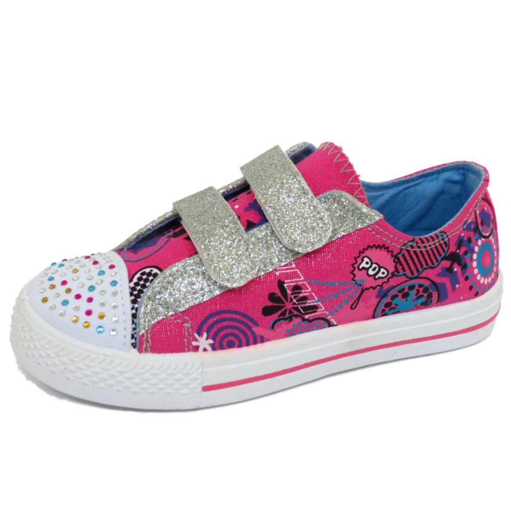 Niños Niñas plano rosa Zapatilla de Lona Zapatos Zapatillas Planas Tallas 10-2