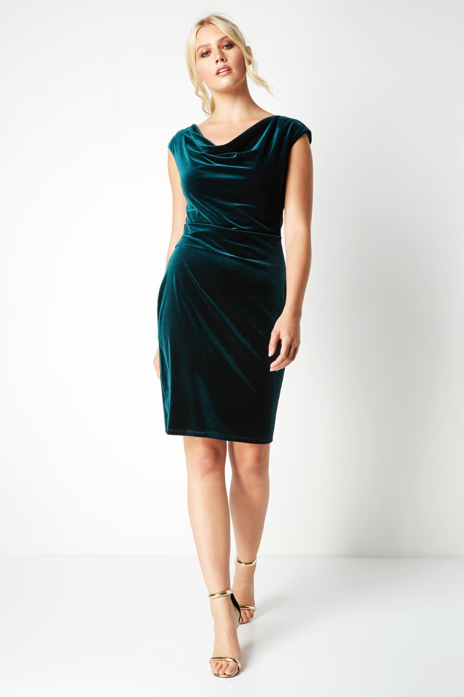 Roman-Originals-Mujer-Cuello-Drapeado-Terciopelo-Vestido-en-Verde-Talla-10-20 thumbnail 12