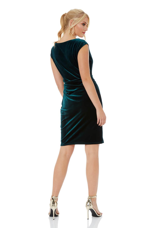 Roman-Originals-Mujer-Cuello-Drapeado-Terciopelo-Vestido-en-Verde-Talla-10-20 thumbnail 9