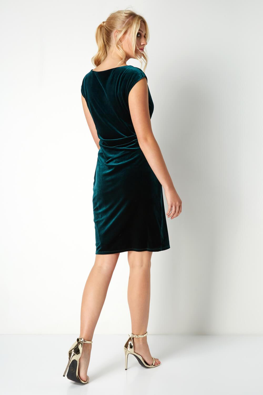 Roman-Originals-Mujer-Cuello-Drapeado-Terciopelo-Vestido-en-Verde-Talla-10-20 thumbnail 13