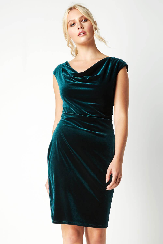 Roman-Originals-Mujer-Cuello-Drapeado-Terciopelo-Vestido-en-Verde-Talla-10-20 thumbnail 11