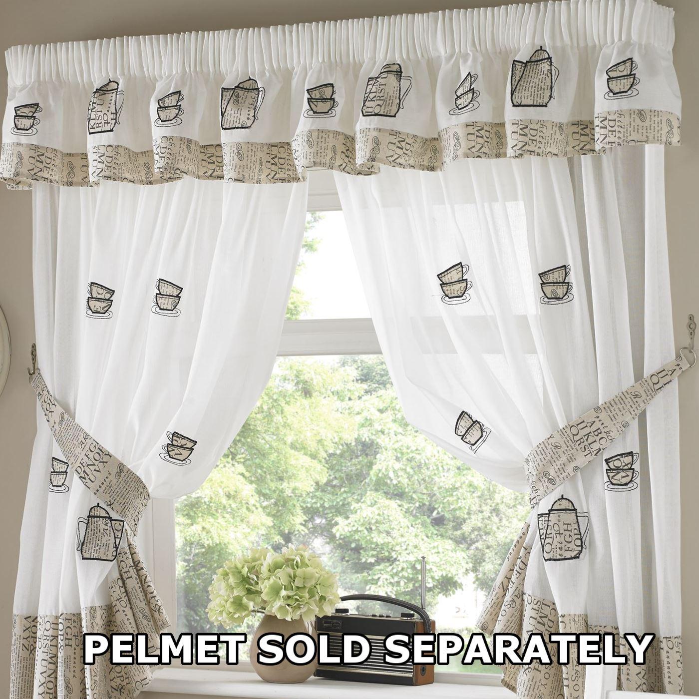 Küche Fenster Gardinen Paar Voile oder passend Querbehänge bestickt ...