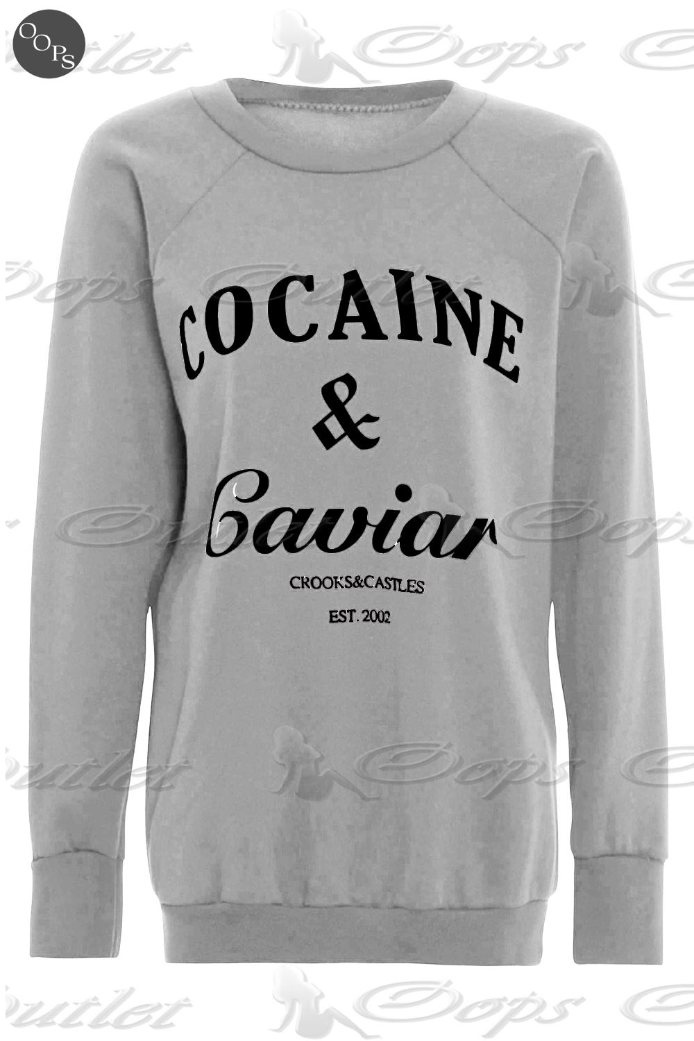 Womens-Cocaine-And-Caviar-Print-Jumper-Ladies-Pullover-Sweatshirt-T-Shirt-Top