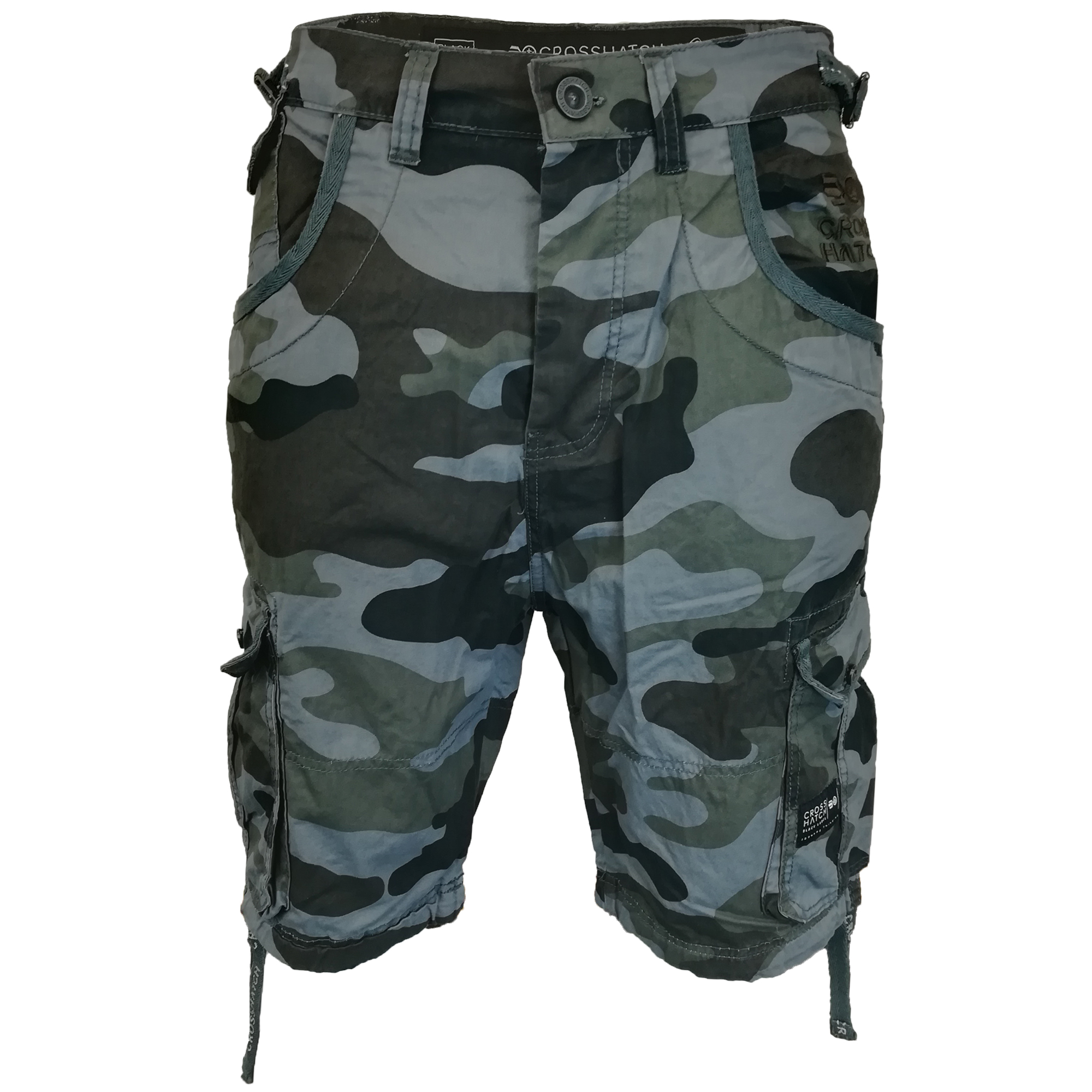 Herren-Crosshatch-Tarnung-Shorts-Cargo-Kampf-Guertel-knielang-