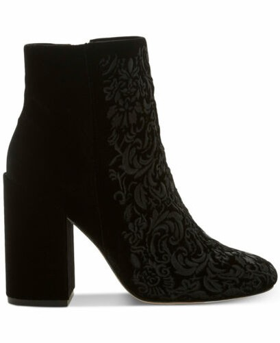 Jessica Simpson Wovella Velours noir Brodé Talon Bloc Cheville Bottines