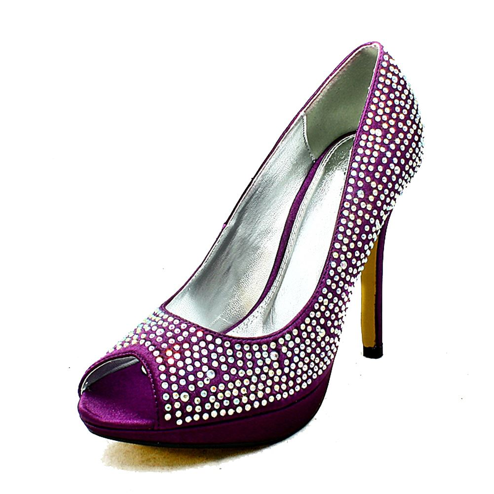 Purple satin peep toe diamante studded high heel evening shoes BNg7x