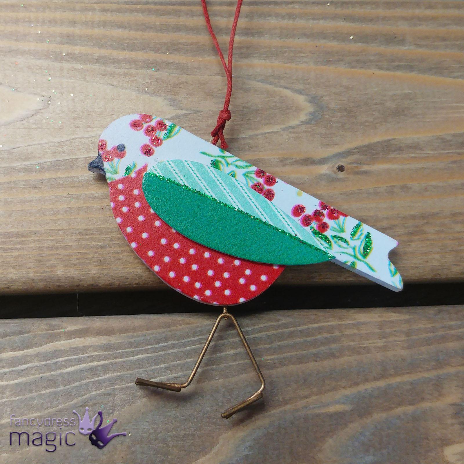 Gisela-Graham-Vintage-Madera-Ave-Alambre-Patas-Colgante-Decoracion-Arbol-Navidad