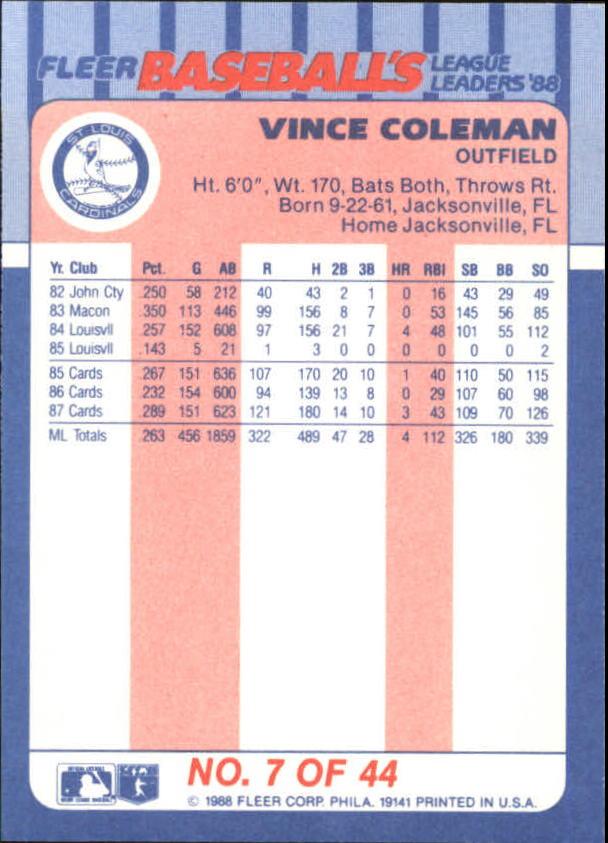 1988-Fleer-Liga-Lideres-Beisbol-Tarjeta-Recoger miniatura 13